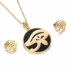Necklace & Earrings-Eye of Horus-Stainless Steel-Gold or Silver - KarmaCraze