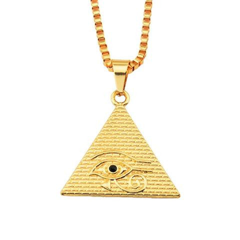 Necklace-Eye of Horus-Stainless Steel-Gold Color - KarmaCraze