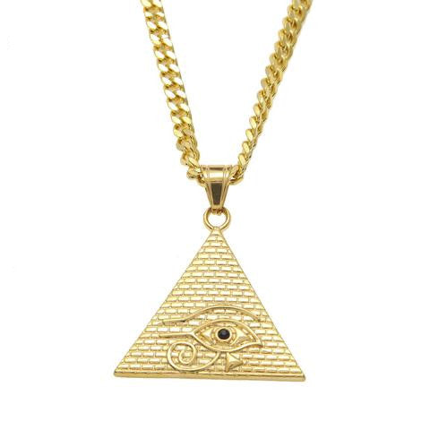 "Necklace-Eye of Horus-Gold Color-27.5"" Miami Cuban Curb Chain - KarmaCraze"