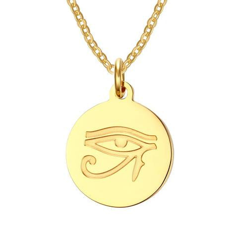 "Necklace-Eye of Horus-Stainless Steel-Gold Color-24"" Link Chain - KarmaCraze"