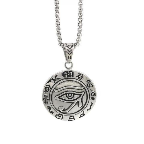 Necklace-Eye of Horus Pendant Necklace - 24 inch Chain - KarmaCraze