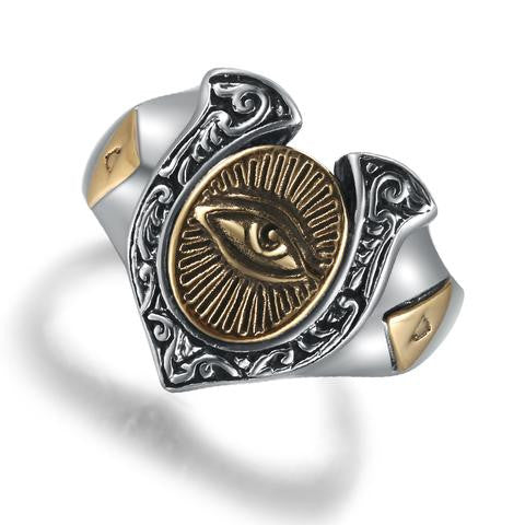 Ring-Eye of Horus-925 Sterling Silver-Silver & Bronze Color-Re-sizable - KarmaCraze