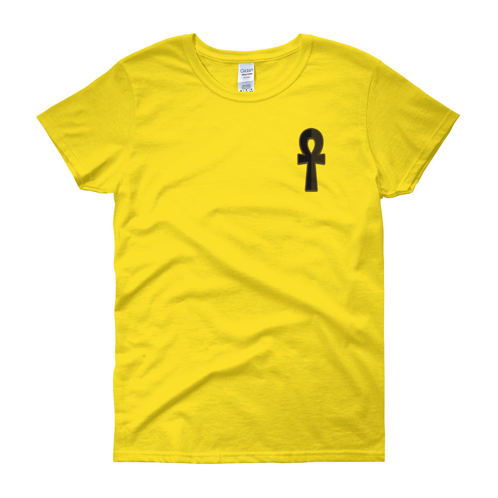 KarmaGear-T-Shirt-Ankh-Cotton-O-Neck-Short Sleeve-Key of Life Logo -For Women