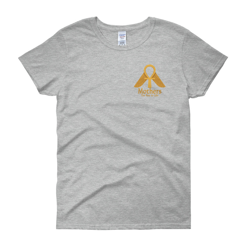 KarmaGear-T-Shirt-Ankh-Isis Goddess-Cotton-O-Neck-Short Sleeve-Gold/Mothers Logo -For Women