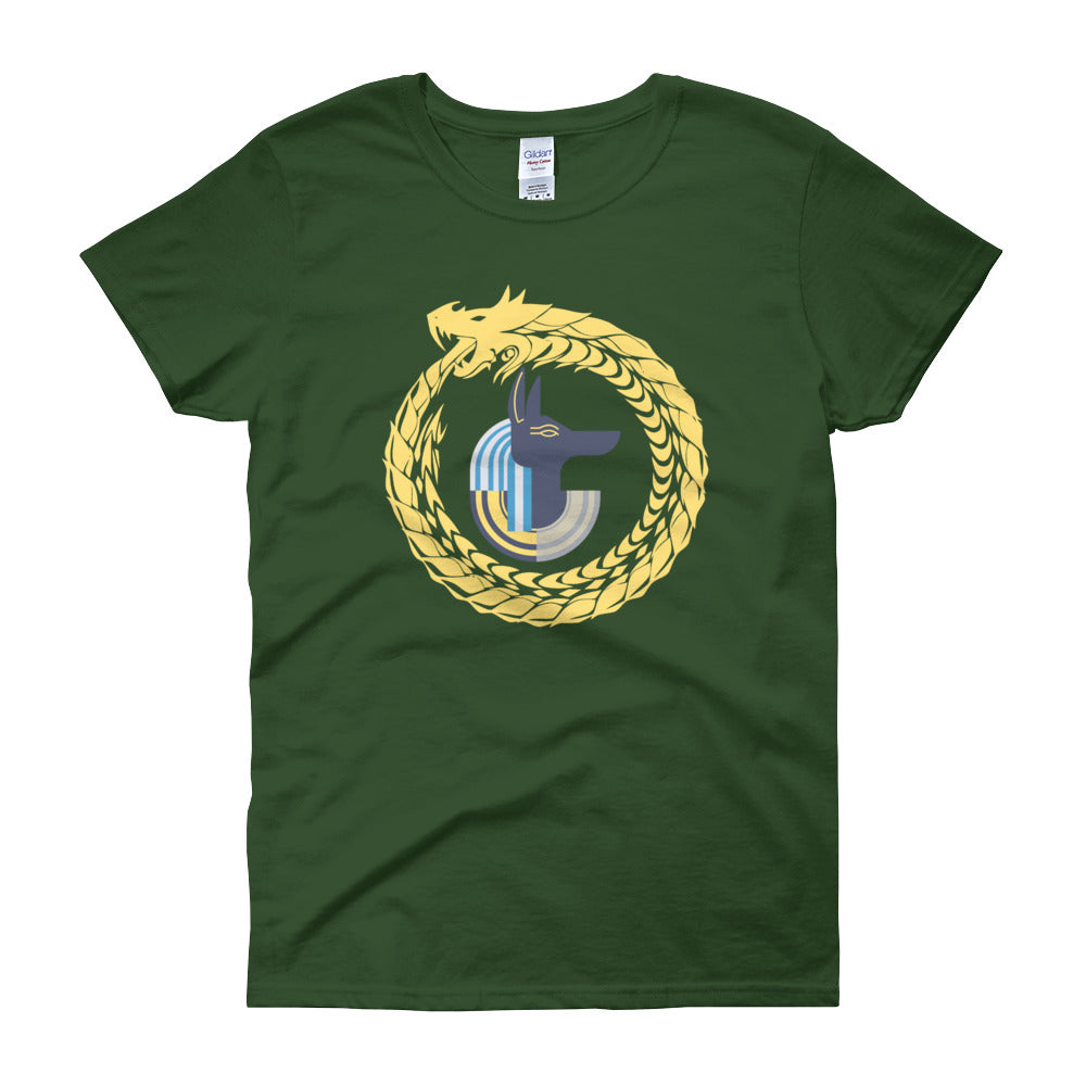 KarmaGear-T-Shirt-Ouroboros-Anubis-Cotton-O-Neck-Short Sleeve -For Women