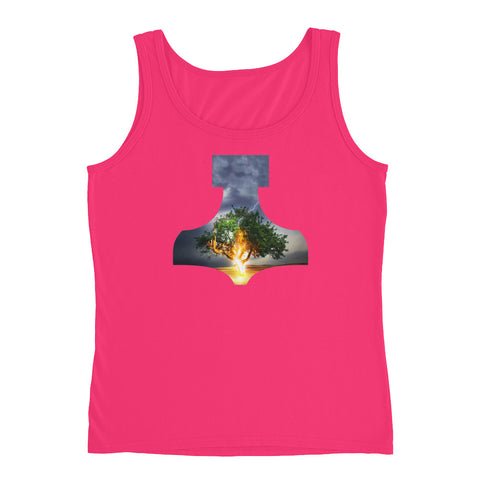 KarmaGear-T-Shirt Tank Top-Thors Hammer-Tree of Life-Cotton-For Women