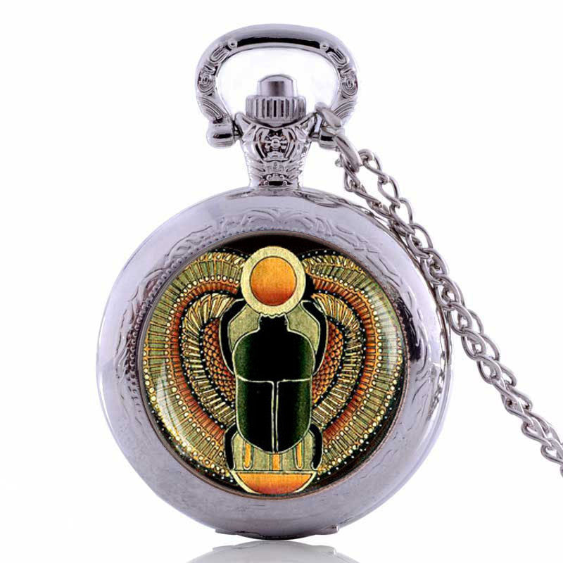 KarmaShine- Pocket Watch-Scarab-Silver Plated