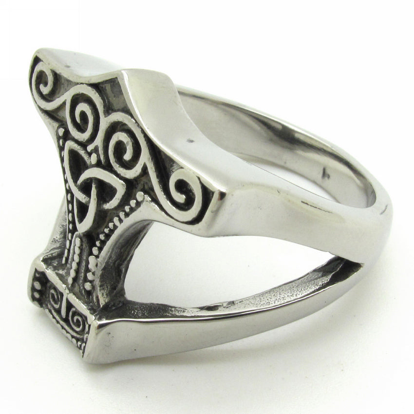 Ring-Thors Hammer-Stainless Steel-Silver/Black Color - Mens Accessories Mens Jewelry - KarmaCraze