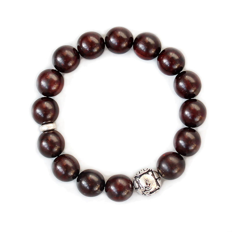 KarmaShine- Bracelet-Om-Natural Sanders Wood Beads-Thai Silver