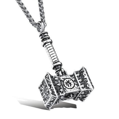 Necklace-Thors Hammer-Stainless Steel-Gold or Silver - KarmaCraze