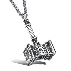 KarmaShine- Necklace-Thors Hammer-Stainless Steel-Gold or Silver