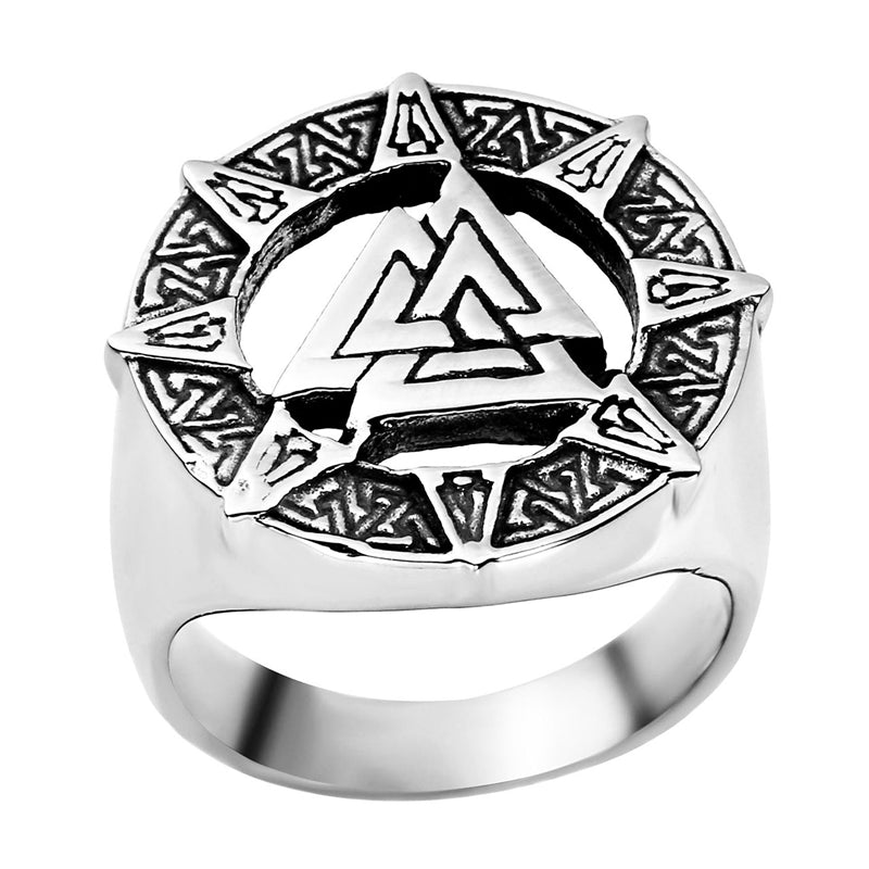 Ring-Valknut-Stainless Steel-Silver Color-Sizes 9-13 - Mens Accessories Mens Jewelry - KarmaCraze