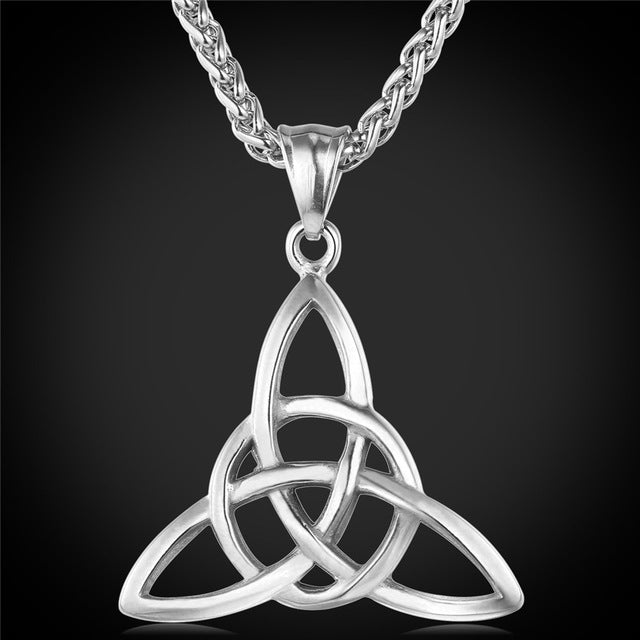 Necklace-Triquetra-Stainless Steel-Gold or Silver Color-Link Chain - KarmaCraze