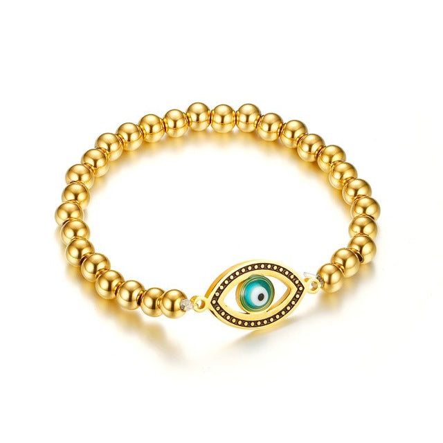 Bracelet-Eye of Horus-Stainless Steel-Gold Ball Beads - KarmaCraze