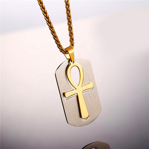 Necklace-Ankh-Stainless Steel-Brown/Gold Color - KarmaCraze