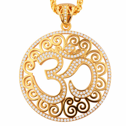 Necklace/Pendant-OM-Cubic Zirconia Inlay-Gold Color - KarmaCraze