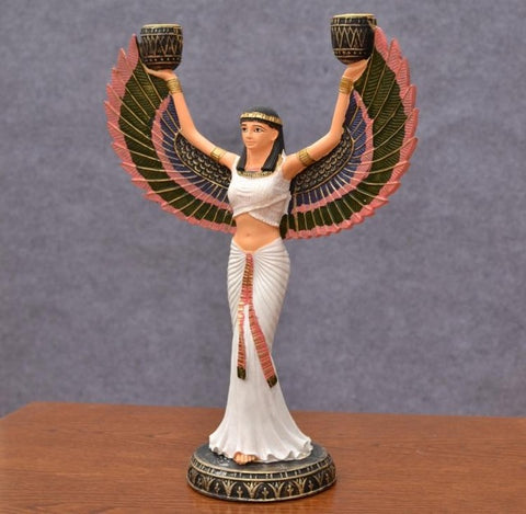 Home Accent Piece-Isis Goddess-Hand Painted-Golden Resin - KarmaCraze