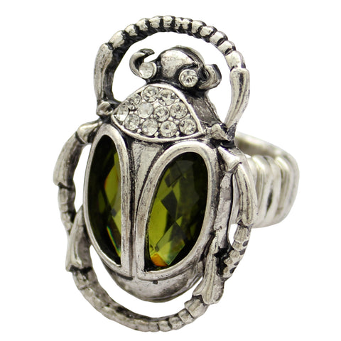KarmaShine- Ring-Scarab-Crystal Inserts-Gold or Silver Color-Size 7