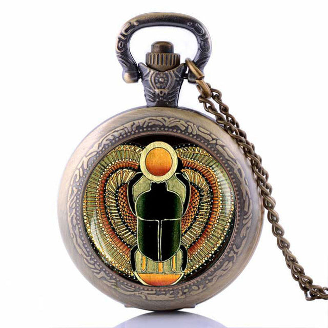 KarmaShine- Pocket Watch-Scarab-Antique Bronze