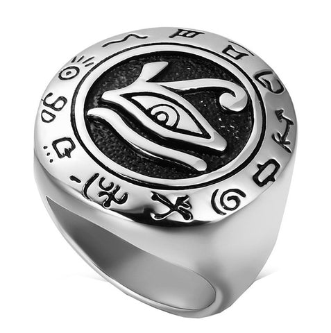 Ring-Eye of Horus-Stainless Steel-Size 7-14 - KarmaCraze
