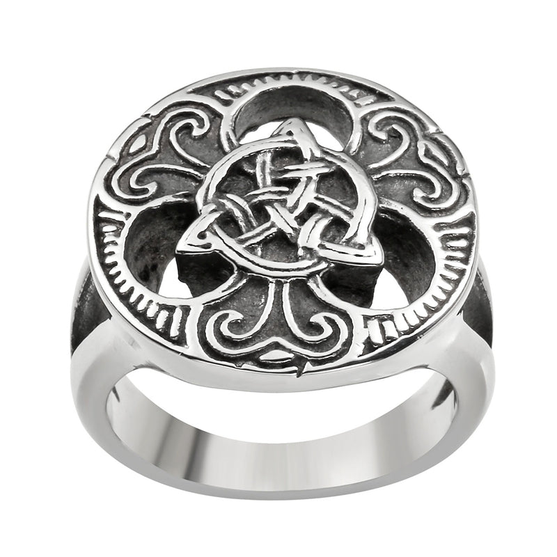 Ring-Triquetra-Stainless Steel-Silver Color-Size 9-13 - Mens Accessories Mens Jewelry - KarmaCraze