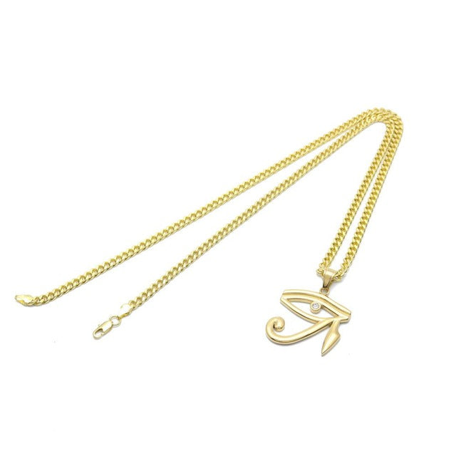 Necklace-Eye of Horus-Gold Color-Miami Cuban Curb Chain - KarmaCraze