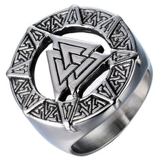 Ring-Valknut-Stainless Steel-Silver Color-Sizes 7-12 - Mens Accessories Mens Jewelry - KarmaCraze