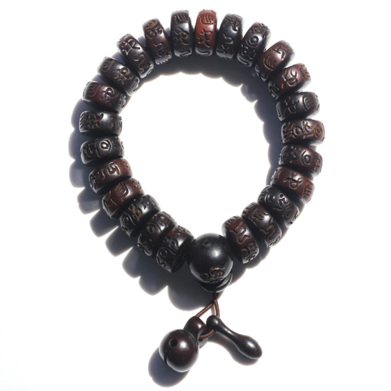 KarmaShine- Bracelet-Om-Hand Carved Jujube Wood-12 mm