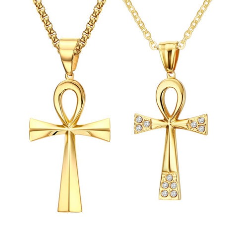 Necklace-Ankh-Gold-color-Stainless Steel-Single or Couples Edition - KarmaCraze