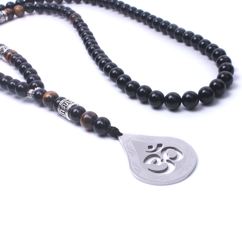 Necklace-Om-Natural stone onyx Tiger eye-Stainless Steel Pendant - KarmaCraze