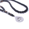 Image of Necklace-Om-Natural stone onyx Tiger eye-Stainless Steel Pendant - KarmaCraze