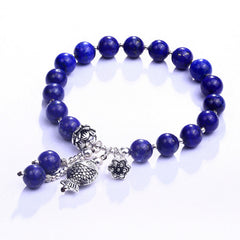 KarmaShine- Bracelet-Lotus Flower-925 Sterling Silver-8mm Lapis Lazuli Beads