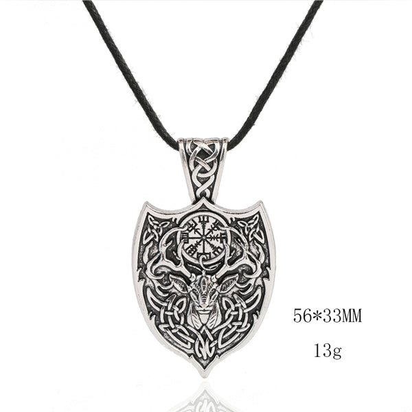 Necklace-Vegvisir-Stag & Shield-Zinc Alloy-Silver-Rope or Link Chain - KarmaCraze
