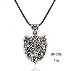 KarmaShine- Necklace-Vegvisir-Stag & Shield-Zinc Alloy-Silver-Rope or Link Chain