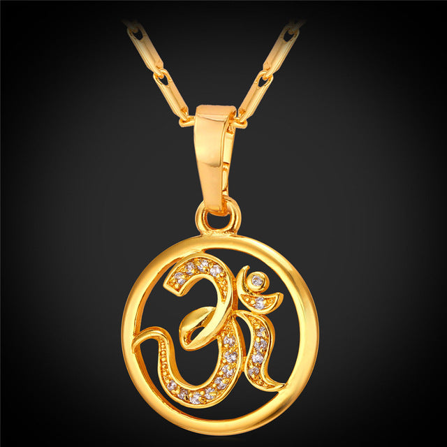 Necklace-OM-Copper-Link Chain-Gold Color-Cubic Zirconia - KarmaCraze