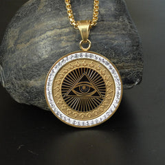 KarmaShine- Necklace-Eye of Horus-Stainless Steel-Gold or Silver-with Chain