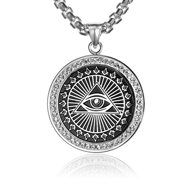 Necklace-Eye of Horus-Stainless Steel-Gold or Silver-with Chain - KarmaCraze