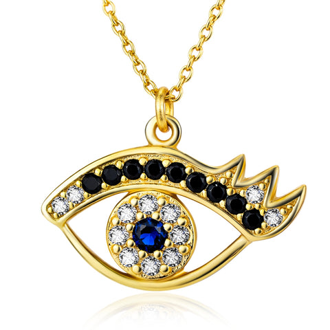 Necklace-Eye of Horus-Sterling Silver-Gold Plated - KarmaCraze