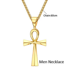KarmaShine- Necklace-Ankh-Stainless Steel-Gold Color-Couples Collection