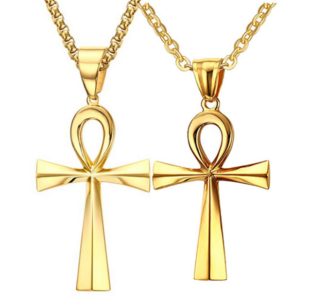 Necklace-Ankh-Stainless Steel-Gold Color-Couples Collection - KarmaCraze