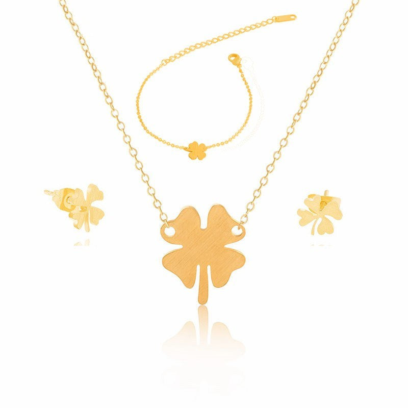 Necklace Earrings Bracelet-Lucky Clover-Stainless Steel-Gold Color - KarmaCraze