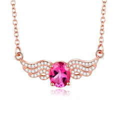 KarmaShine- Necklace-Isis Goddess-2ct Red Topaz-Silver 925 Rose Gold Color