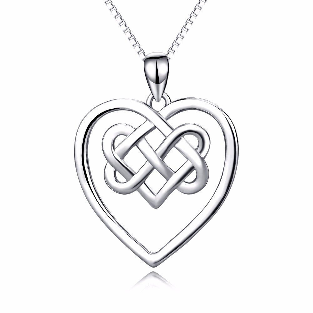 Necklace-Triquetra-Sterling Silver-Silver Box Chain - KarmaCraze