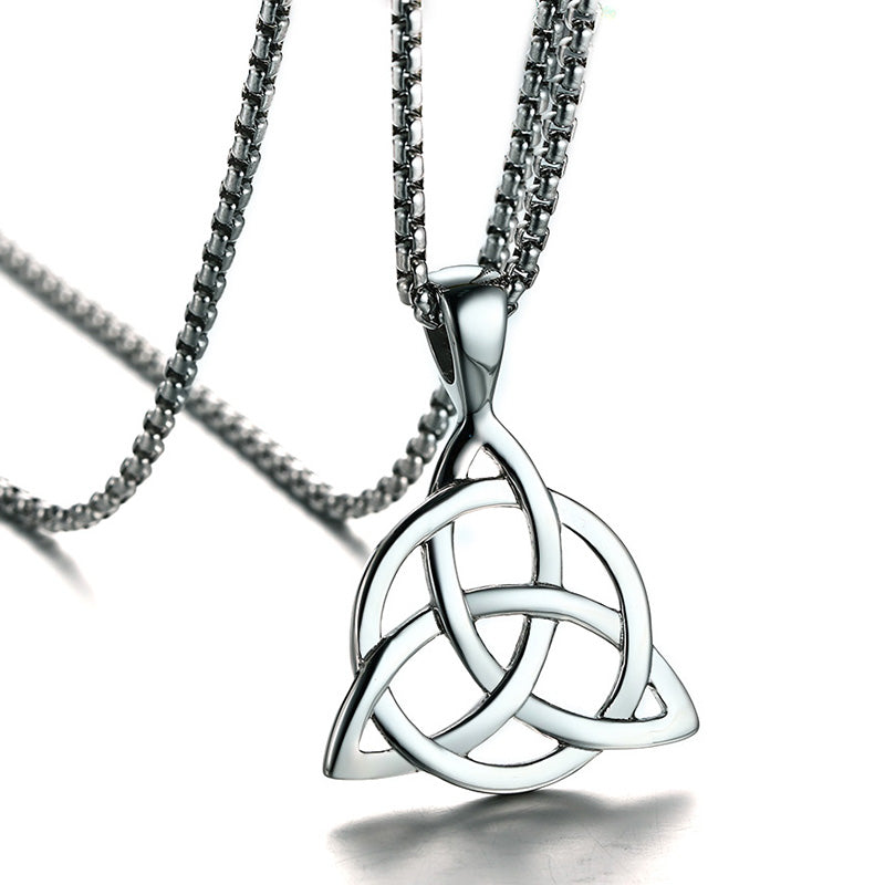 Necklace-Triquetra-Stainless Steel-Link Chain - KarmaCraze