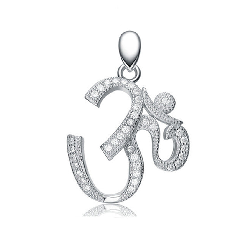 KarmaShine- Necklace-Om-925 Sterling Silver-Pendant-Cubic Zirconia