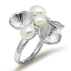 KarmaShine- Ring-Lotus Flower-Natural White Pearl-Adjustable Ring