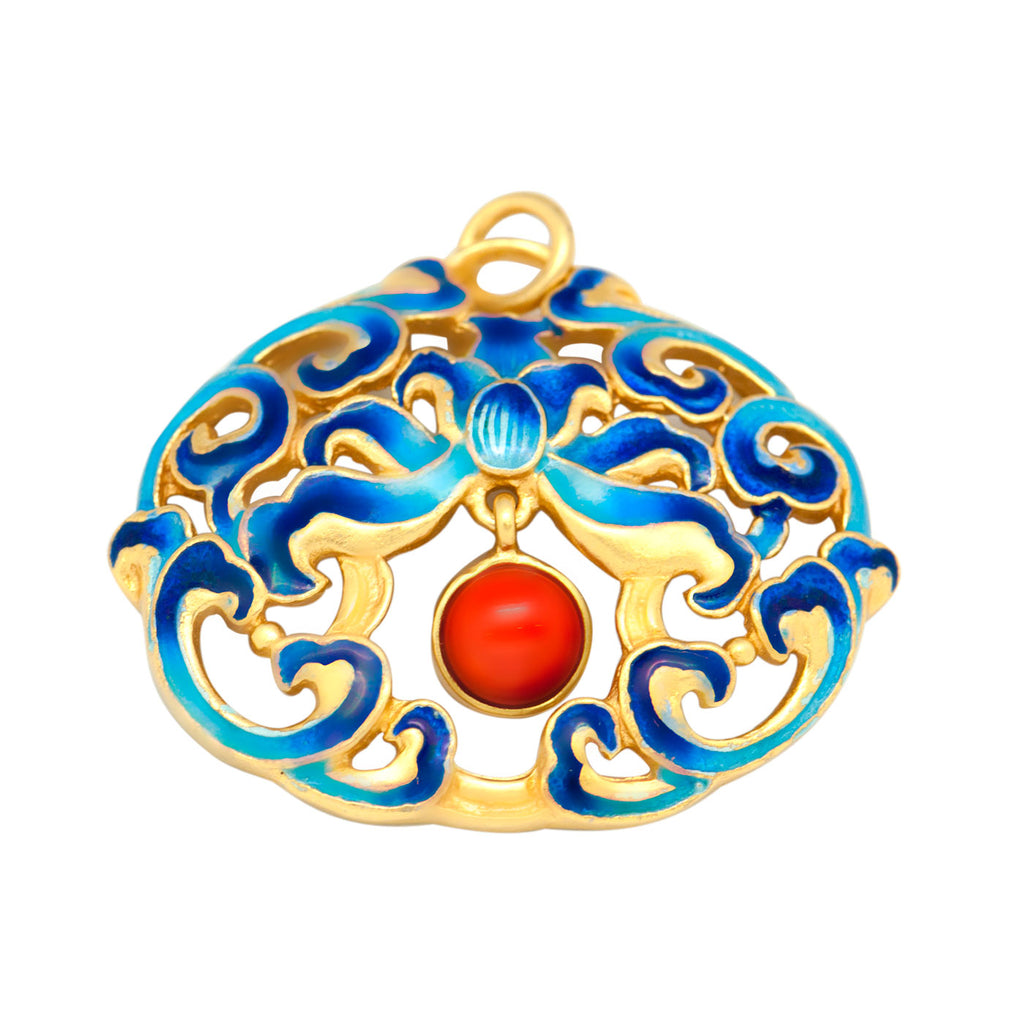 KarmaShine- Necklace Pendant-Lotus Flower-925 Sterling Silver-Enamel Finish-No Chain