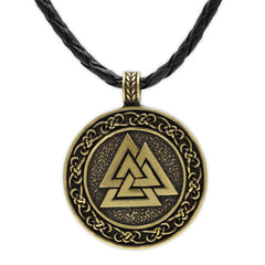 KarmaShine- Necklace-Valknut-Stainless Steel-Leather Rope Chain