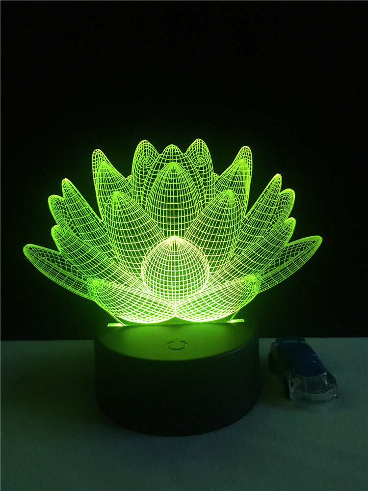 KarmaStuff- Home Night Light-Lotus Flower-USB-LED-Acrylic plate-3D illusion-3 control Methods