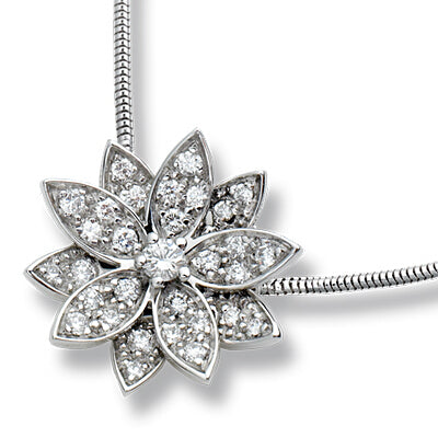 KarmaShine- Necklace-Lotus Flower-925 Sterling Silver-White Gold-Cubic Zirconia-Clavical Chain